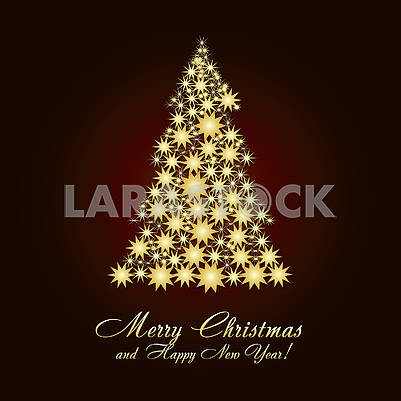 Christmas greetings card with fir tree made from gold stars
