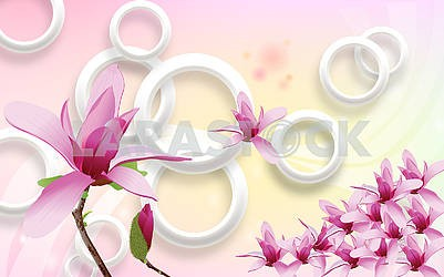3d illustration, yellow-pink background, white rings, dark pink lilies