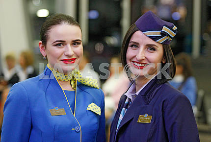 Flight attendants smiles