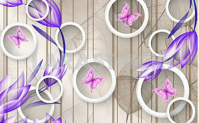 3d illustration, vertical brown lines, large translucent leaves, white rings, pink butterflies, blue tulips