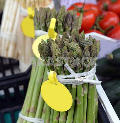 Bunch of asparagus on display