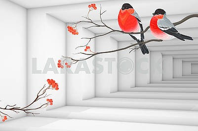 3D illustration, light background, corridor, Bullfinches are sitting on the branches of a mountain ash