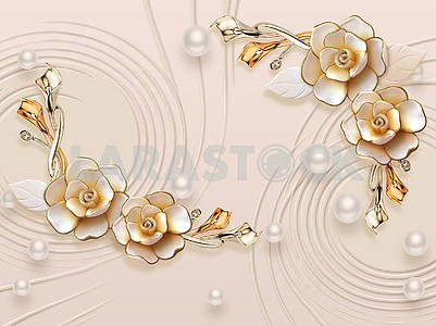 3d illustration, beige background, white pearls of different sizes, large gilded flowers