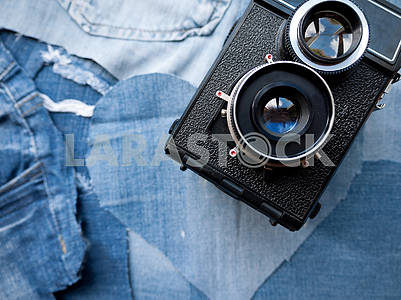 Vintage Camera on Denim