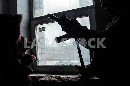 Ukrainian military in the conflict zone in Avdeevka