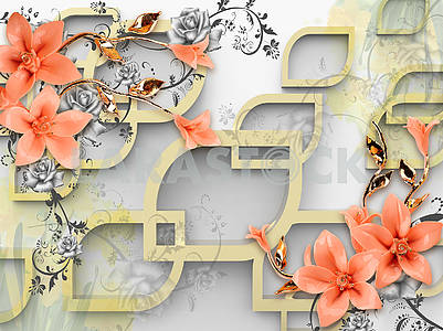 3d illustration, gray background, beige frames in the shape of a drop, pink lilies on golden stems, gray roses