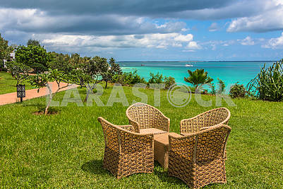 Wicker chairs on the grass