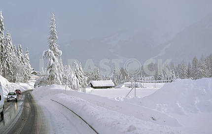 Highway in Winter through mountains