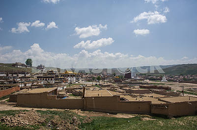 General view from the hill to the temple of Milarepa.