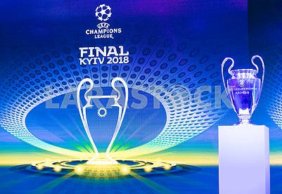 The logo of the final and the Champions League Cup