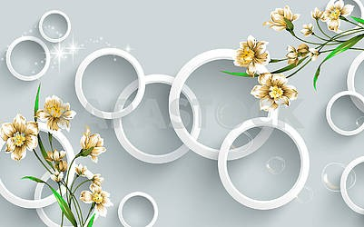 3D illustration, gray background, white rings, soap bubbles