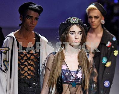The models demonstrates collection by Ukrainian designer Sofia Rousinovich