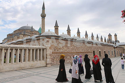 Muslims near the mosque