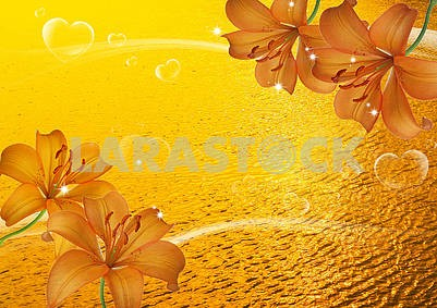 Orange sunset, water, heart-shaped soap bubbles, translucent large lilies
