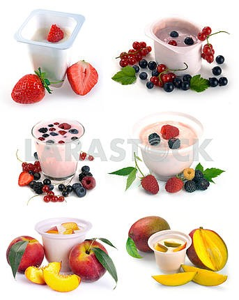 set of images of fruit and yogurt with berries