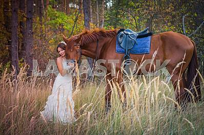 brown-haired woman standing near the horse, in wedding dress mermaid silhouette, among the spikelet, autumn, forest on the background