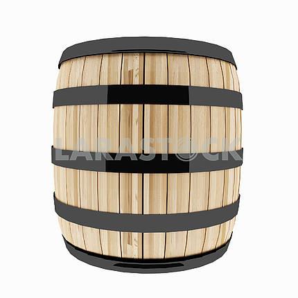 Single oak barrel on isolated white in 3D illustration