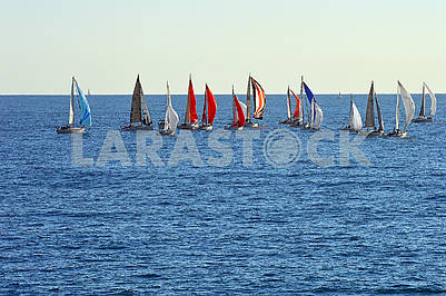 A group of sailing boats