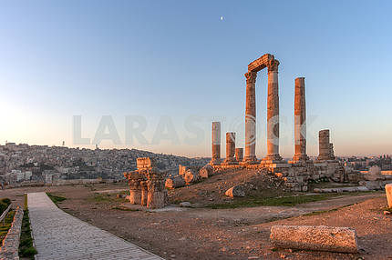 Roman Square in Amman at dawn