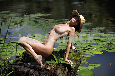 Evening photo of a naked girl on the river bank