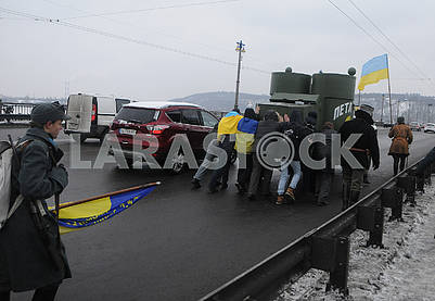 "Participants of the action are pushed by the armored car ""Petlyura"""