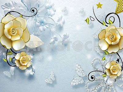 3d illustration, light blue background, blue butterflies, large beige gilded ornamental flowers