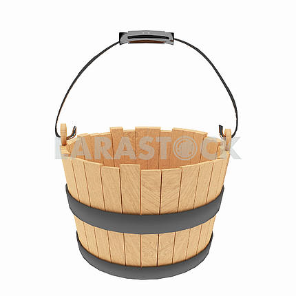 wood bucket on isolated white in 3D illustration