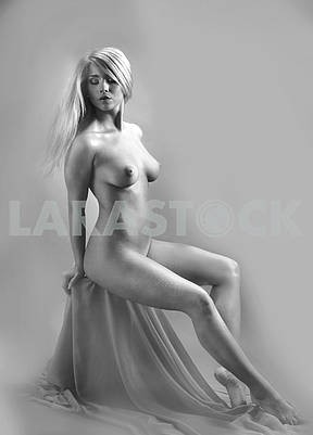 Nude girl  on a  background