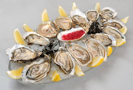 Oysters in ice with a lemon and sauce