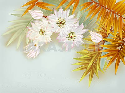 Yellow palm leaves, flowers on a palm tree