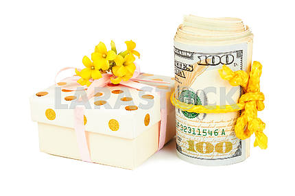 Gift box and roll of dollars.