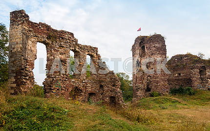 The ruins of the castle tower Buchach. Buchach, Ternopil region,