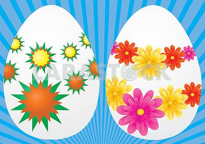 Two white eggs decorated for Easter holiday