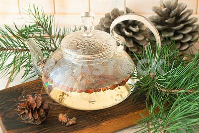 Tea with pine buds for treating colds. Herbal medicine.
