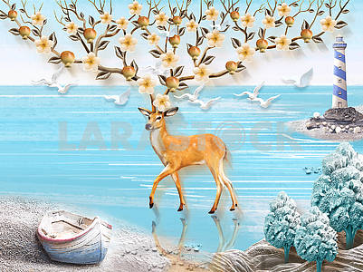 Landscape illustration, sea, lighthouse, boat on the shore, doe with large flowering and fruiting horns, seagulls