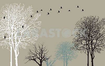 Dark gray background, black, white and blue contours of trees, black crows flying away from a tree