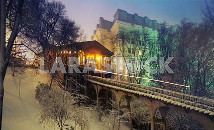 Kiev funicular in the fog in winter