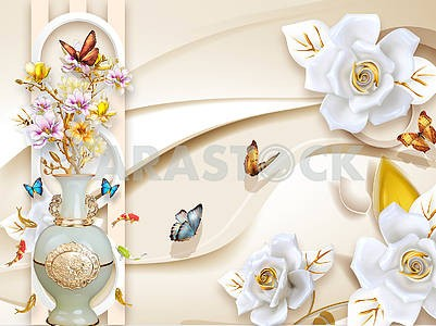 3d illustration, beige background, white rings, large white rosebuds, large brown and blue butterflies, white gilded ceramic vase with pink and yellow flowers, colorful fish