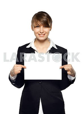 business woman holding blank paper and smiling, front view, isol