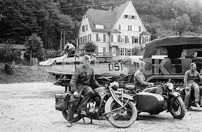 German soldiers. Motor cycles BMW R-35, Zundap KS-750.