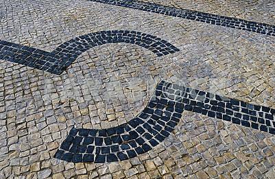 Traditional portuguese stone mosaic calcade