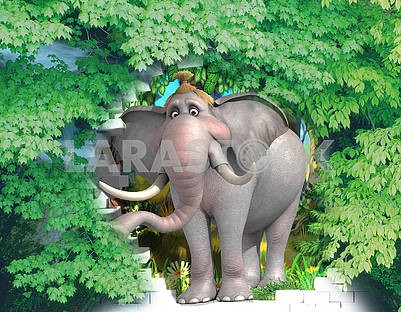 3D illustration - an elephant girl peeking out of a breach of a brick wall, in the shade of a maple tree