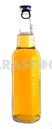 Transparent bottle with a light beer