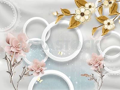 3d illustration, gray, white rings, soft pink and gold flowers on metallic stems