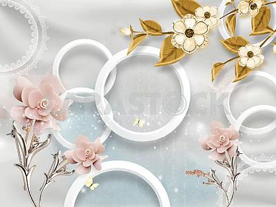 3д иллюстрация, серые, белые кольца, нежно-розовые и золотые цветы на металлических стеблях
