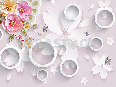 3d illustration, light pink background with large white paper flowers, white rings, pink and white pearl flowers, blue butterflies
