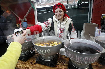 The seller of mulled wine in the Sophia Square