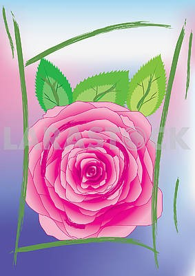 Background with rose in asian style