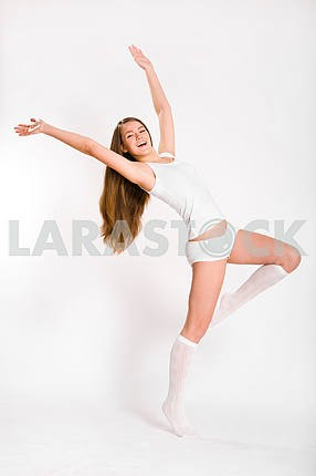 Young underwear model fun on a white background