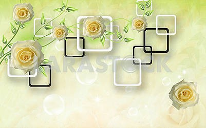 3d illustration, light background, black and white rectangular frames, yellow roses, soap bubbles